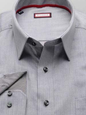 Szara klasyczna koszula w jodełkę