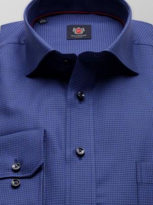 Granatowa klasyczna koszula w pepitkę