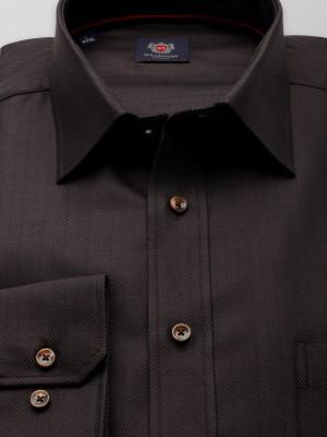 Ciemnobrązowa klasyczna koszula w jodełkę