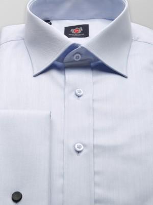 Jasnobłękitna taliowana koszula na spinki