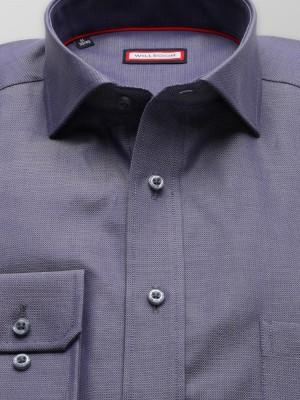 Szaroniebieska taliowana koszula w drobny wzór