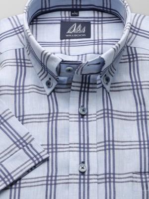 Błękitna taliowana koszula z lnu w kratę