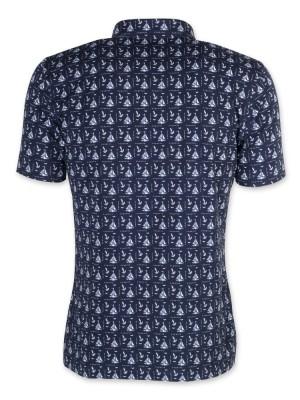 Granatowa koszulka polo w żaglówki
