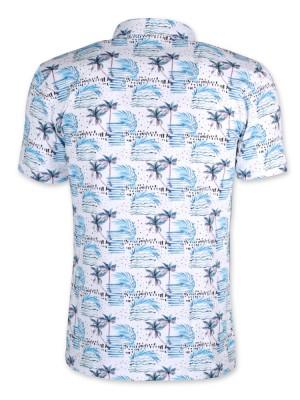 Biała koszulka polo w tropikalny wzór
