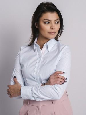 Biała bluzka w błękitne paski