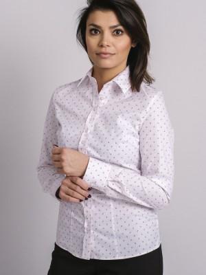 Biała bluzka w różową kratkę