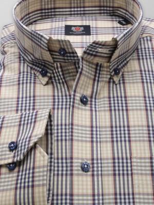 Klasyczna beżowa koszula w kratkę
