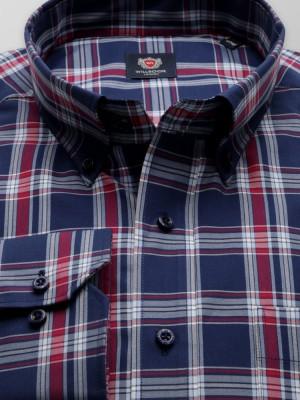 Granatowa klasyczna koszula w kratę