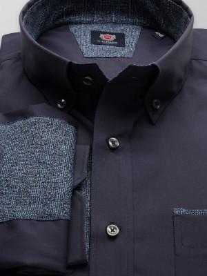 Granatowa klasyczna koszula z nałokietnikami