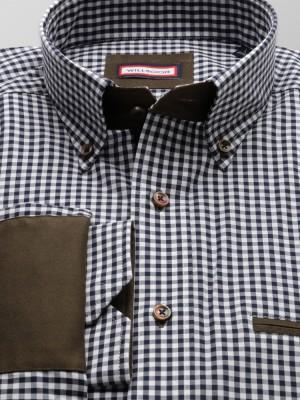 Taliowana koszula w kratkę gingham z nałokietnikami