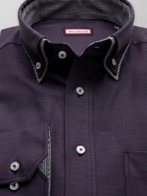 Klasyczna ciemnofioletowa koszula z kontrastami