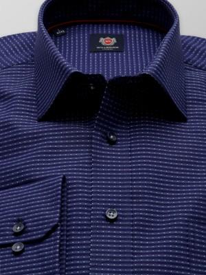 Granatowa klasyczna koszula w kropki i paski