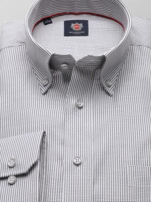 Klasyczna biała koszula w drobną pepitkę