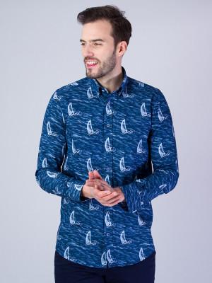 Granatowa taliowana koszula