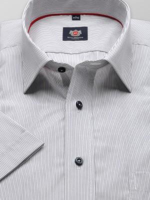 Klasyczna biała koszula w szare prążki