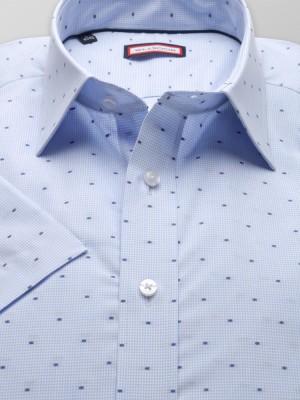 Błękitna taliowana koszula w kratkę i kropki