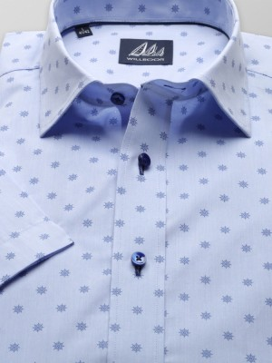 Błękitna taliowana koszula w koła sterowe