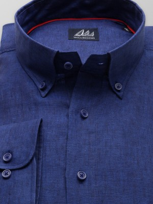Klasyczna granatowa koszula z lnu