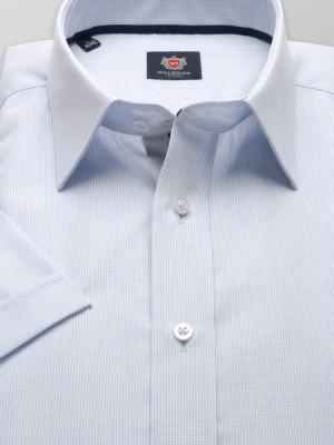 Biała taliowana koszula w drobną kratkę