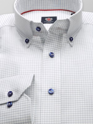 Biała taliowana koszula w granatową kratkę
