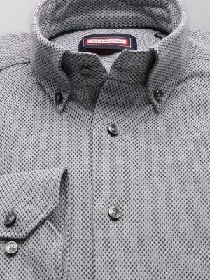 Jasnoszara klasyczna koszula w kropki