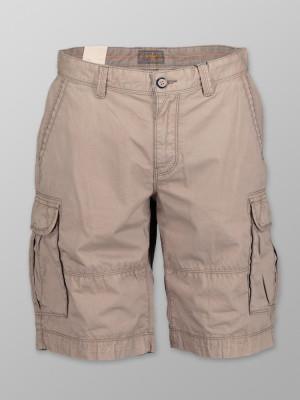 Ciemnobeżowe szorty męskie cargo z kieszeniami