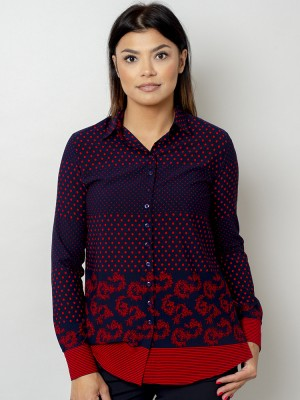 Granatowa bluzka oversize w czerwone kropki