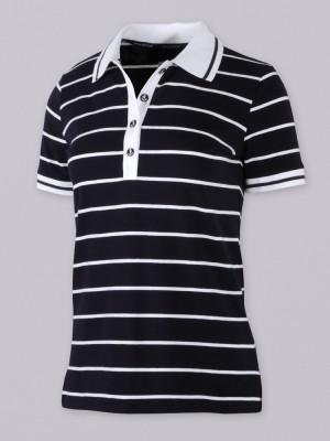 Granatowa koszulka polo w białe paski