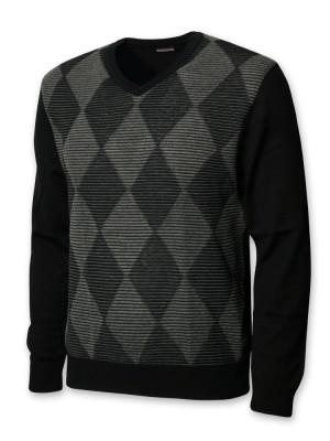 Czarny sweter w szare romby