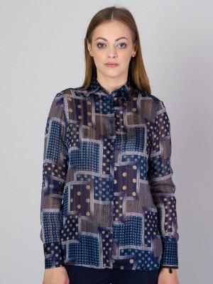 Granatowa bluzka oversize w kolorowe wzory
