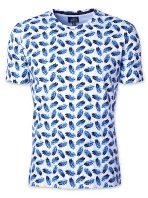 Biało-niebieski t-shirt w pióra