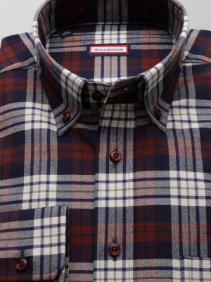 Taliowana koszula w bordową, granatową i białą kratę