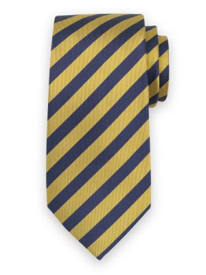 Jedwabny krawat w żółte i granatowe pasy