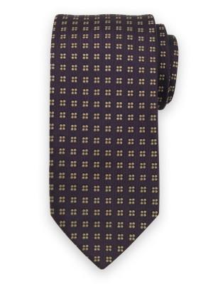 Fioletowy jedwabny krawat w kwiaty
