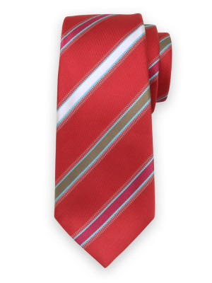 Czerwony jedwabny krawat w pasy
