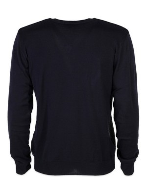 Granatowo-szary sweter szpic