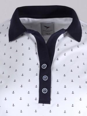 Biała koszulka polo w kotwice