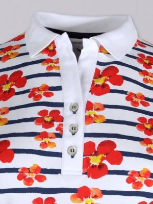 Biała koszulka polo w kwiaty i paski