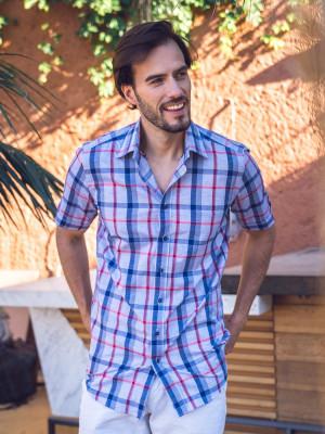 Szara taliowana koszula w kratę