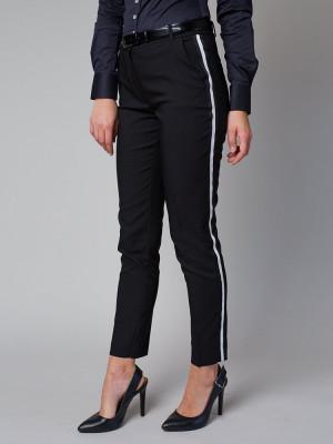 Czarne spodnie garniturowe z lampasem