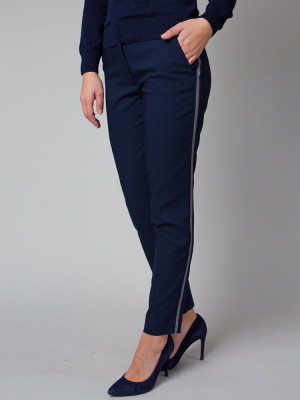 Granatowe spodnie garniturowe z lampasem