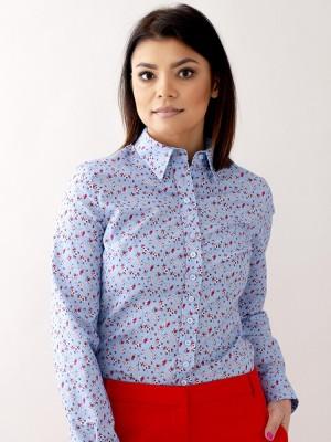 Błękitna bluzka w kolorowe kwiatki