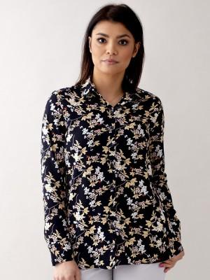 Czarna bluzka oversize w kwieciste wzory