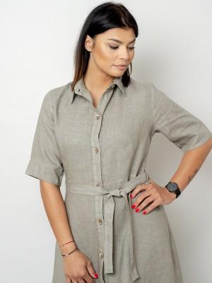 Długa sukienka lniana w kolorze khaki