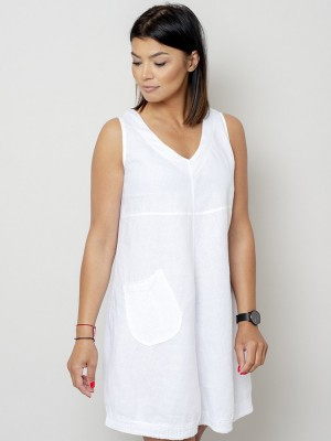 Krótka biała sukienka lniana