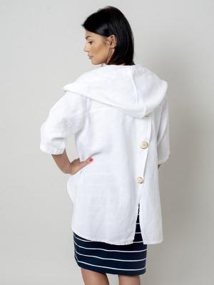 Biała kurtka lniana oversize z kapturem