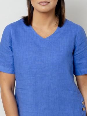Szafirowa bluzka lniana oversize