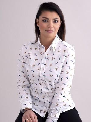 Biała bluzka damska w kolorowe kolibry
