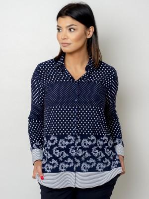 Granatowa bluzka oversize w białe kropki