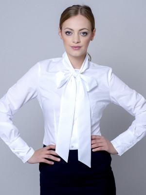 Biała bluzka w delikatne groszki z kokardą